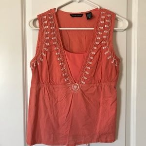 New York & company coral tank with cami medium